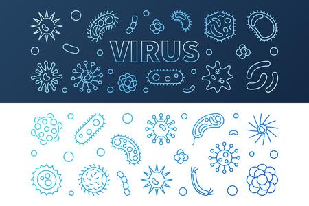 Virus blue creative banners set - vector linear illustration