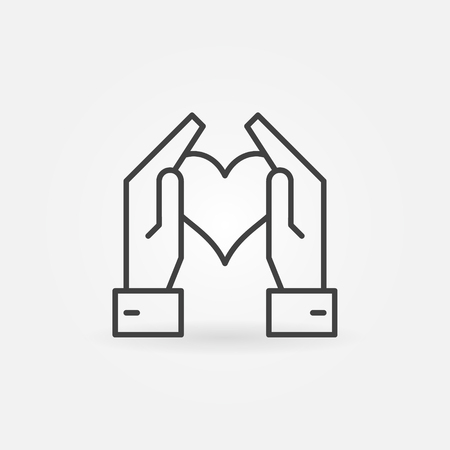 Hands holding heart vector icon in thin line style