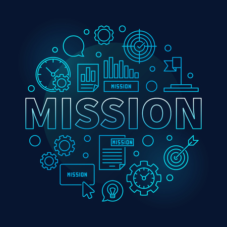Mission vector round blue business outline illustration