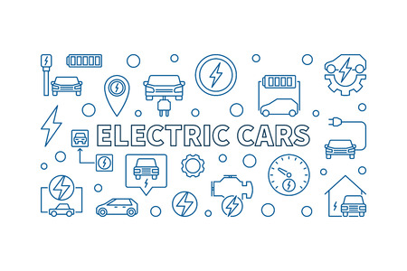 Electric Cars vector horizontal illustration or banner in outline style