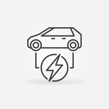 Icona lineare di auto elettrica. Simbolo della linea dell'auto completamente elettrica vettoriale