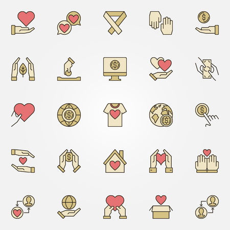 Charity and Donation vector creative icons set