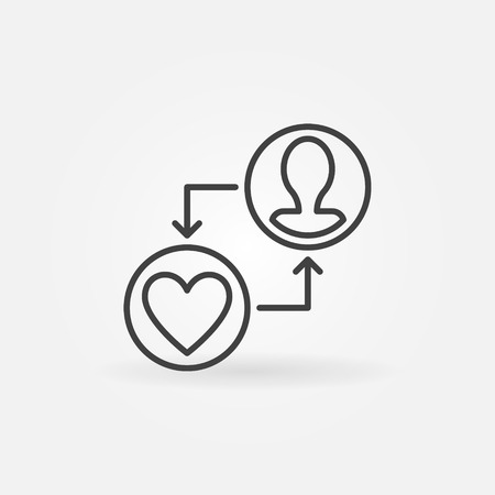 Human face with heart vector donation outline icon