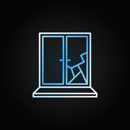 Broken window vector creative icon in outline style Vector Illustratie