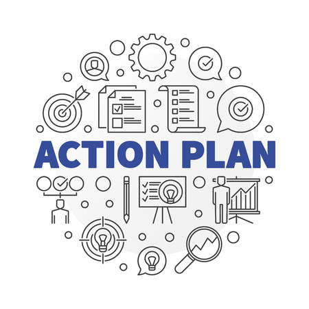 Vector Action Plan round illustration in thin line style