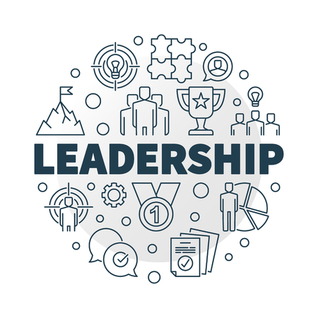 Vector Leadership round illustration in outline style