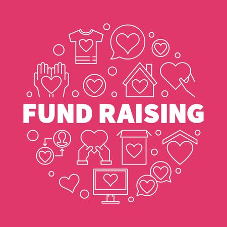 Fund Raising vector outline illustration on red background