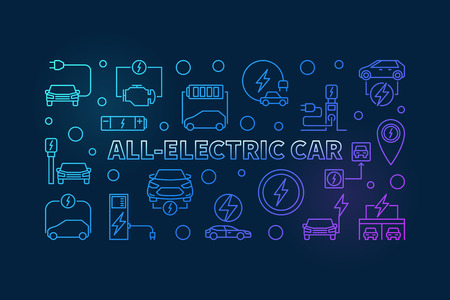 All-electric car horizontal colorful outline banner. Vector illustration made with electric car linear icons on dark background