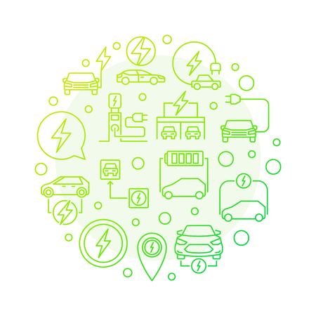 All-electric car round green outline illustration. Vector EV and electric car creative symbol in thin line style on white background