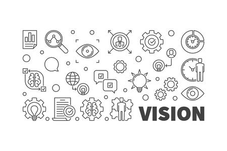 Vision vector line illustration. Business Vision linear banner