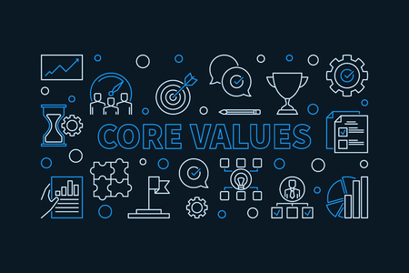 Vector Core Values horizontal linear simple illustration Ilustração