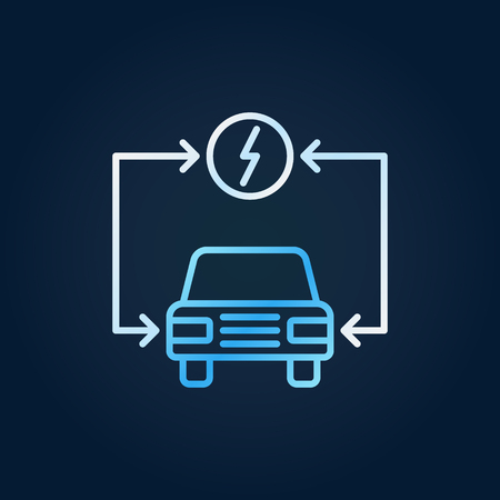 Vector electric auto colorful icon - electric vehicle symbol