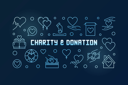 Charity and Donation vector blue outline banner or illustration on dark background