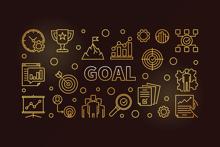 Goal golden banner. Vector business outline illustration Illustration