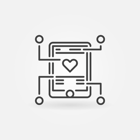 Mobile app development vector outline icon or sign