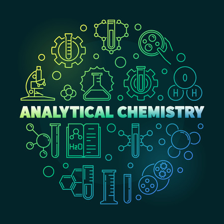 Analytical Chemistry vector colorful round outline illustration on dark background Vektorové ilustrace