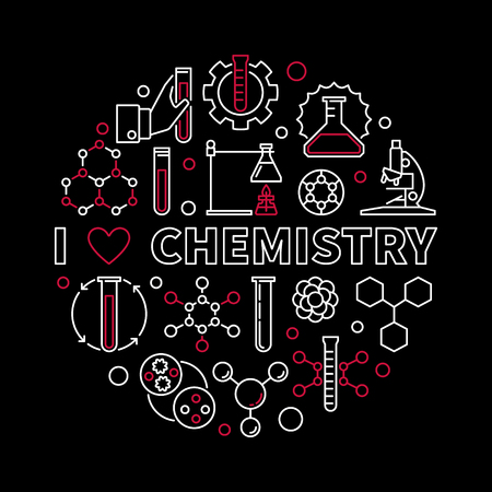 Vector I Love Chemistry modern round illustration in thin line style. Chemical concept background