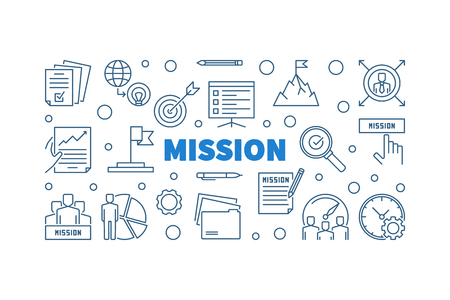 Mission outline blue horizontal illustration or banner in thin line style