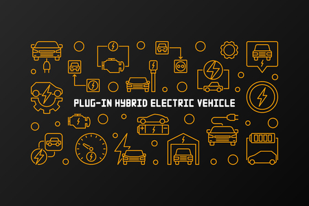 Plug-in electric vehicle vector linear horizontal illustration