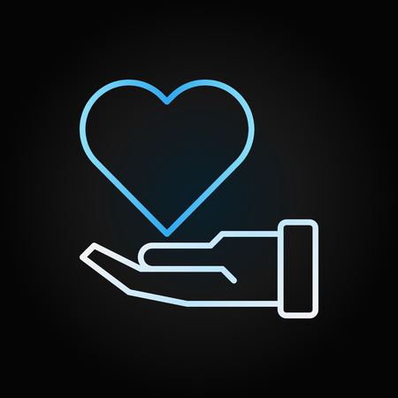 Hand with blue heart vector charity creative outline icon