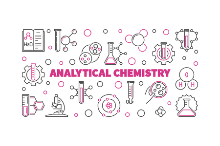 Analytical Chemistry concept horizontal illustration in thin line style. Vector linear banner Иллюстрация
