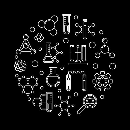 Concepto de vector de bioquímica y biología molecular ilustración de contorno redondo sobre fondo oscuro