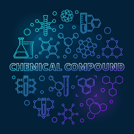 Chemical Compound vector concept blue round outline illustration on dark background Illustration