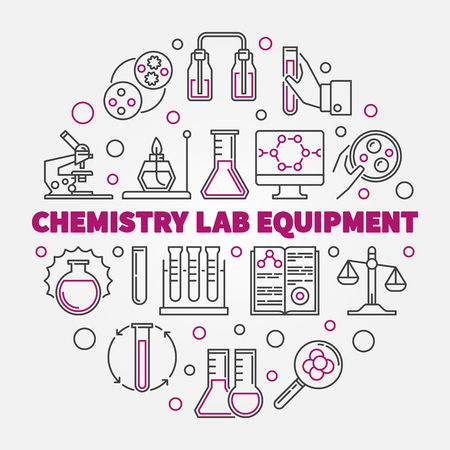 Chemistry Lab Equipment vector concept round illustration in thin line style