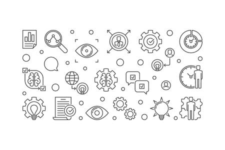 Vision Statement vector minimal horizontal illustration. Business Vision concept outline banner