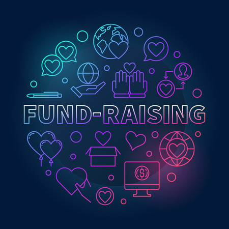 Fund-Raising round vector colored linear illustration on dark background Ilustração