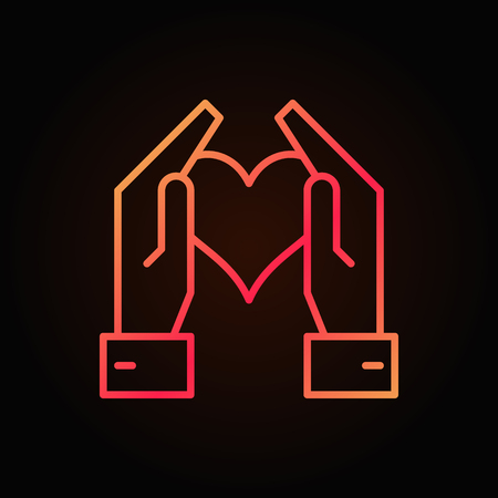 Hands holding heart vector red bright outline icon on dark background Çizim