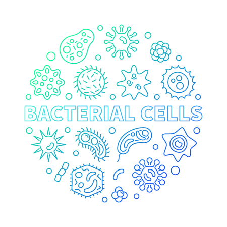 Bacterial cells round vector colorful outline illustration made with microbes and viruses icons on white background