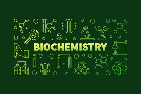 Biochemistry vector green outline banner or illustration