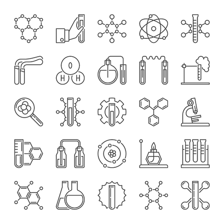 Vector set of chemical laboratory equipment outline icons