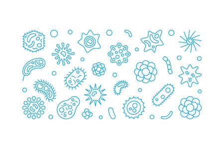 Microorganisms vector blue outline horizontal illustration