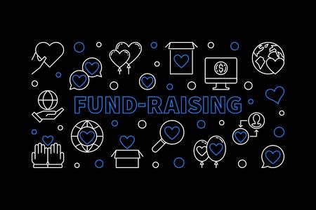 Fund-Raising vector banner. Fund Raising outline illustration