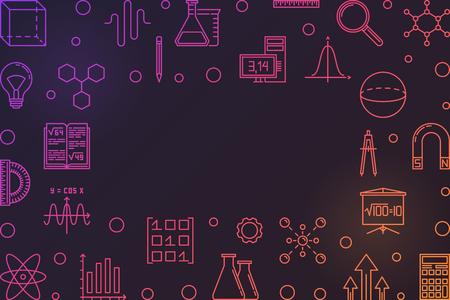 Marco colorido de vector de educación STEM con fondo oscuro