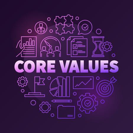 Company core values vector round creative linear illustration
