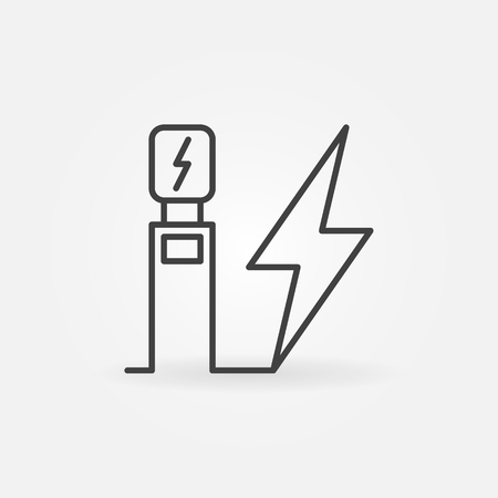 Electric vehicle charging station vector outline icon or symbol
