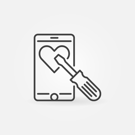 Smartphone with screwdriver vector concept line icon