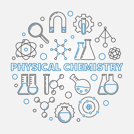 Physical Chemistry vector education round linear illustration Standard-Bild - 115836643