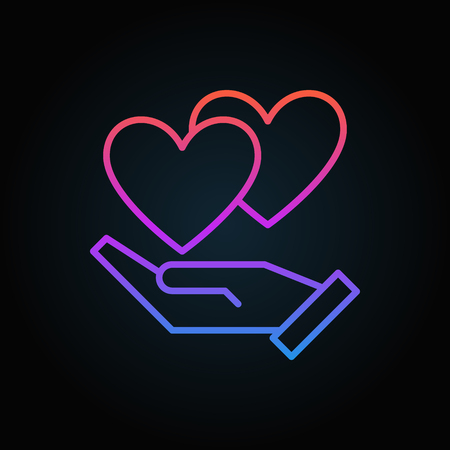Hand with hearts vector colored icon in thin line style on dark background