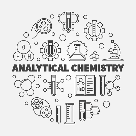 Analytical Chemistry vector concept outline round illustration