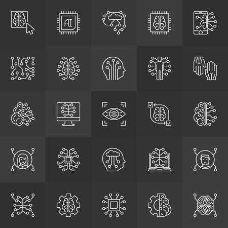 AI or artificial intelligence vector concept line icons