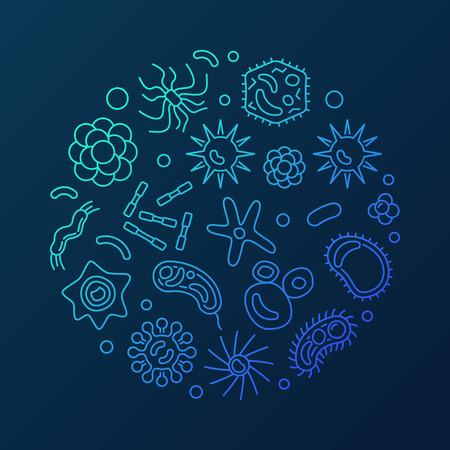 Virology round vector microbiology blue outline illustration Ilustrace