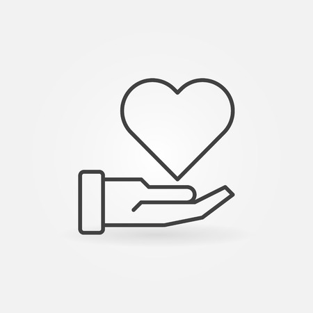Hand with heart vector charity concept outline icon Çizim