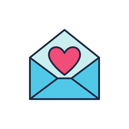 Blue Envelope with Red Heart vector icon. Love letter symbol Stock Illustratie