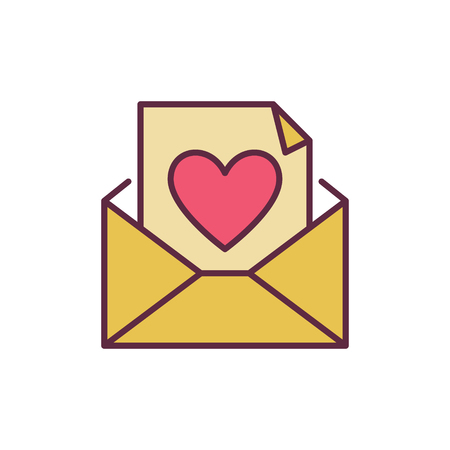 Envelope and Letter with Heart vector creative icon
