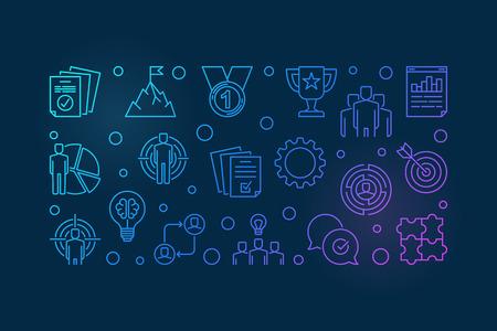 Business Leader vector colorful outline illustration or banner Illustration