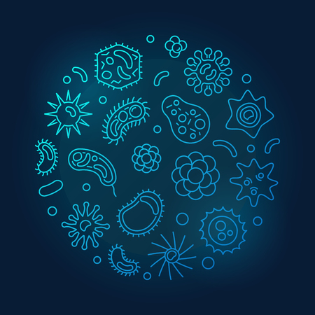 Microorganisms round vector blue outline illustration